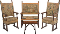 A Four-Piece Jacobean Carved Wood and Tapestry-Upholstered Parlor Suite Marks: paper labels to table underside MADE IN I...