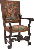 Furniture, A Renaissance Revival Wood Armchair with Needlepoint Tapestry Upholstery, 19th century . 50-3/4 x 31 x 28 inches (128.9 x 78...