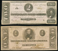 Confederate Notes:1862 Issues, T54 $2 1862 PF-11 Cr. 392 Very Fine;. T62 $1 1863 PF-1 Cr. 474 About Uncirculated.. ... (Total: 2 notes)