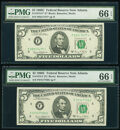 Small Size:Federal Reserve Notes, Fr. 1972-F; F* $5 1969C Federal Reserve Notes. PMG Gem Uncirculated 66 EPQ.. ... (Total: 2 notes)