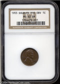 1955/55 1C Error Doubled Die MS62 Brown NGC. FS-021.8. An attractive chocolate-brown Cent with lightly marked surfaces a...