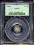 Three Cent Silver: , 1863 3CS MS65 PCGS. With an original output of only 21,...
