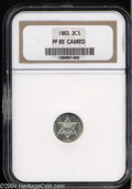 Proof Three Cent Silver: , 1865 3CS PR65 Cameo NGC. A glassy, essentially untoned ...