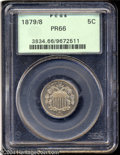 1879/8 5C PR66 PCGS. Bright, frosty luster with just a hint of gold color. This Gem proof Shield nickel has no blemishes...