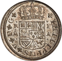 Spain: Philip V Real 1726/7 M-A MS66 NGC