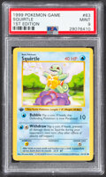 Memorabilia:Trading Cards, Pokémon Squirtle #63 First Edition Base Set Trading Card (Wizards of the Coast, 1999) PSA MINT 9....