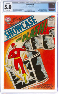 Showcase #4 The Flash (DC, 1956) CGC Conserved VG/FN 5.0 Off-white pages
