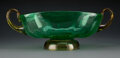 A Steuben Glass Bowl with Handles 5-3/4 x 16 x 8-1/2 inches (14.6 x 40.6 x 21.6 cm)