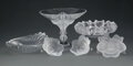 Glass, A Group of Six Lalique Frosted and Clear Glass Table Articles. Marks: Lalique, France. 6-3/4 x 8-1/2 x 8-1/2 inches (17.... (Total: 6 Items)