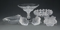 A Group of Six Lalique Frosted and Clear Glass Table Articles Marks: Lalique, France 6-3/4 x 8-1/2 x 8-1/2 inches (17...