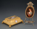 Decorative Accessories, A Gilt Metal and Porcelain Plaque on Easel and an Engraved Gilt Metal and Porcelain Covered Box. 2-3/4 x 8-3/4 x 6-3/4 inche... (Total: 2 Items)