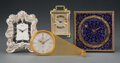 Clocks & Mechanical, A Group of Four Small Desk Clocks. Marks: (various). 4-1/2 x 4-1/2 x 1 inches (11.4 x 11.4 x 2.5 cm) (tallest, Plojoux). ... (Total: 4 Items)