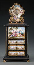 Clocks & Mechanical, A Viennese Ebonized Wood and Porcelain Miniature Mounted Secrétaire À Abattant with Clock. 8-3/4 x 3-7/8 x 3 inches (22.2 x ...