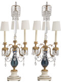 Lighting, A Pair of Gilt Bronze, Marble, and Cobalt Glass Four-Light Electrified Girandoles. 37-1/2 x 12 x 12 inches (95.3 x 30.5 x 30... (Total: 2 Items)