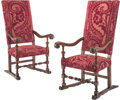 Furniture, A Pair of Renaissance Revival and Velvet Upholstered Armchairs. 50 x 26 x 28 inches (127 x 66.0 x 71.1 cm) (each). ... (Total: 2 Items)