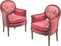 Furniture, A Pair of Louis XVI-Style Children's Bergères with Red Silk Upholstery. 28 x 19 x 17 inches (71.1 x 48.3 x 43.2 cm) (each). ... (Total: 2 Items)