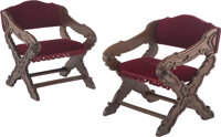 A Pair of Italian Baroque-Style Wood and Velvet Metamorphic Prie-Dieu 26-1/2 x 23 x 24-1/2 inches (67.3 x 58.4 x 62.2 cm...