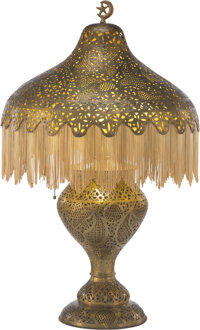 A Moorish-Style Pierced Brass Lamp and Shade, early 20th century 38 x 22 x 22 inches (96.5 x 55.9 x 55.9 cm)