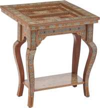 A Moorish Inlaid Games Table with Additional Games Boards 29-3/4 x 24-1/4 x 12-1/4 inches (75.6 x 61.6 x 31.1 cm) (table...