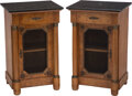 Furniture, A Pair of Empire-Style Burlwood and Marble-Topped Commodes. Marks to each: A.K, MADE IN FRANCE. 32-1/4 x 22 x 18 inches ... (Total: 2 Items)