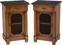 A Pair of Empire-Style Burlwood and Marble-Topped Commodes Marks to each: A.K, MADE IN FRANCE 32-1/4 x 22 x 18 inches...