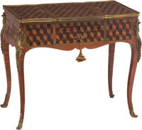 A Louis XVI-Style Parquetry Decorated Poudreuse 29 x 34 x 19-1/2 inches (73.7 x 86.4 x 49.5 cm)