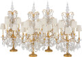 Lighting, A Set of Four Louis XV-Style Gilt Bronze and Crystal Six-Light Girandoles, 20th century. 41 x 16 x 16 inches (104.1 x 40.6 x... (Total: 4 Items)
