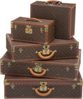 Decorative Accessories, A Group of Five Louis Vuitton Hard-Sided Suitcases. 20-1/2 x 31-1/2 x 8-1/2 inches (52.1 x 80.0 x 21.6 cm) (largest). ... (Total: 5 Items)