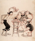 Animation Art:Production Drawing, I Likes Babies and Infinks Popeye, Olive Oyl and Bluto Theatrical Poster Preliminary Drawing (Max Fleischer, 1937). ... (Total: 2 Items)