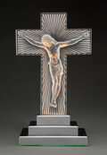 Glass, An R. Lalique Glass Christ Glass Luminaire on Chrome Metal Base, circa 1930. Marks: R. LALIQUE, FRANCE. 19 x...