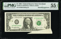 Error Notes:Attached Tabs, Butterfly Fold Error Fr. 1921-D $1 1995 Federal Reserve Note. PMG About Uncirculated 55 EPQ.. ...
