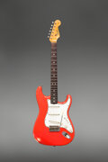 Musical Instruments:Electric Guitars, 1965 Fender Stratocaster Fiesta Red Solid Body Electric Guitar, Serial #L86068.. ...