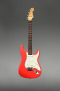 Musical Instruments:Electric Guitars, 1963 Fender Stratocaster Fiesta Red Solid Body Electric Guitar, Serial #L01460.. ...