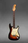 Musical Instruments:Electric Guitars, 1962 Fender Stratocaster Sunburst Solid Body Electric Guitar, Serial #77235.. ...