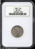 Liberty Nickels: , 1901 5C MS65 NGC. Lilac-orange patina that changes shades ...