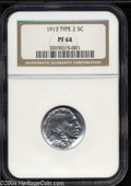 Proof Buffalo Nickels: , 1913 5C Type Two PR64 NGC. Well struck with bright, ...