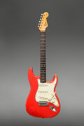 Musical Instruments:Electric Guitars, 1964 Fender Korina Stratocaster Fiesta Red Solid Body Electric Guitar, Serial #L31229.. ...