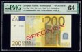 European Union Central Bank, Netherlands 200 Euro 2002 Pick 6ps Specimen PMG Choice Uncirculated 64