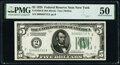 Fr. 1950-B $5 1928 Federal Reserve Note. PMG About Uncirculated 50