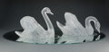 Glass, Pair of A Lalique Clear and Frosted Glass Cygne Tete Droite and Cygne Tete Penchee Swans on Etched Mir... (Total: 3 Items)
