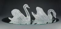 Pair of A Lalique Clear and Frosted Glass Cygne Tete Droite and Cygne Tete Penchee Swans on Etched Mir... (Total: 3 Item...
