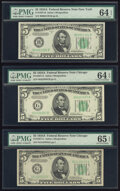 Small Size:Federal Reserve Notes, Fr. 1957-B; G (2) $5 1934A Federal Reserve Notes. PMG Graded Choice Uncirculated 64 EPQ (2); Gem Uncirculated 65 EPQ.. ... (Total: 3 notes)
