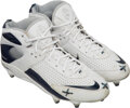 Football Collectibles:Others, 2007 Tom Brady AFC Divisional Championship Game Worn & Signed New England Patriots Cleats--Photo Matched!...