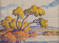 Birger Sandzén (American, 1871-1954) Pond With Willows Watercolor and pencil on paper 11 x 14-3/4