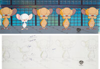 """Pinky and The Brain """"A Pinky and The Brain Christmas"""" The Brain and Noodle Noggins Pan Cel Setup with Key Mast..."""