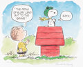 """Memorabilia:Print, Peanuts """"The Flying Ace"""" Linus and Snoopy Limited Edition Lithograph #478/500 (Charles Schulz/United Feature Syndicate..."""