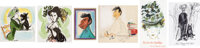 Joe Grant Art Tiles and Del Connell Caricature Sketches plus Card Group (Walt Disney, c. 1940s-50s). ... (Total: 5 Items...