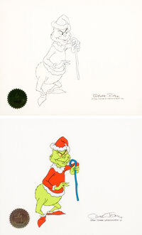 Dr. Seuss' How the Grinch Stole Christmas Grinch in Santa Suit Production Cel and Animation Drawing Signed by Chuck Jo...