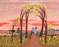 """Mary Blair Melody Time """"The Legend of Johnny Appleseed"""" Concept/Color Key Painting with Signature (Walt Disney..."""