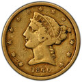 1840-D $5 Tall D Fine 12 PCGS. PCGS Population: (3/91 and 0/1+). NGC Census: (2/74 and 0/0+). Mintage 22,896. ...(PCGS#...
